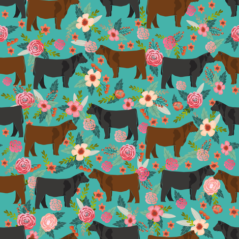 Angus cattle floral design - cattle fabric cow farm floral design  fabric by petfriendly on Spoonflower - custom fabric