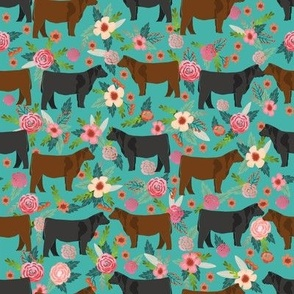 Angus cattle floral design - cattle fabric cow farm floral design
