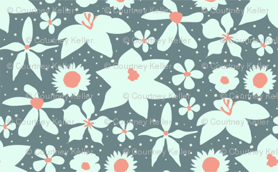 Coral & Grey Painted Floral