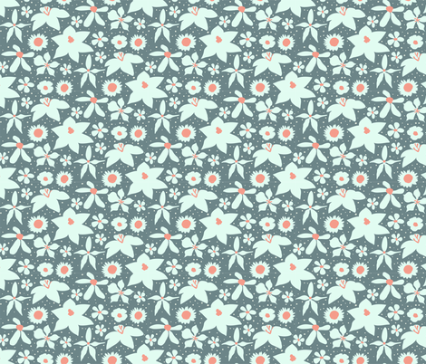 Coral & Grey Painted Floral fabric by onelittleprintshop on Spoonflower - custom fabric