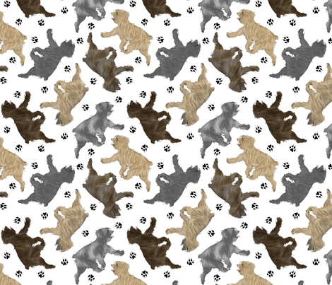 Trotting Pyrenean Shepherds rough face and paw prints - white fabric by rusticcorgi on Spoonflower - custom fabric