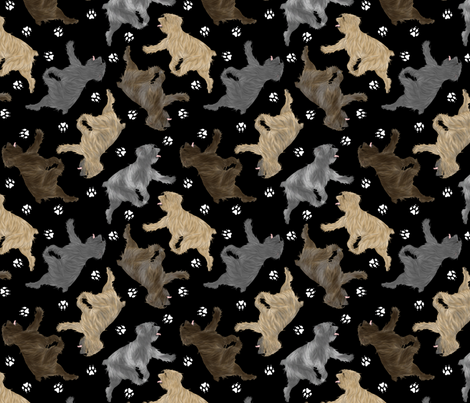 Trotting Pyrenean Shepherds rough face and paw prints - black fabric by rusticcorgi on Spoonflower - custom fabric