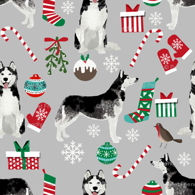 husky  christmas dog fabric cute huskies holiday dog christmas design - grey