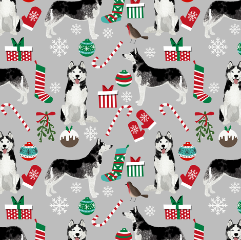 husky  christmas dog fabric cute huskies holiday dog christmas design - grey  fabric by petfriendly on Spoonflower - custom fabric