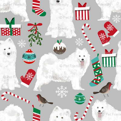 samoyed christmas dog fabric cute samoyeds holiday dog christmas design - grey