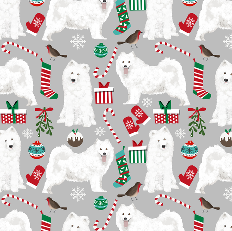 samoyed christmas dog fabric cute samoyeds holiday dog christmas design - grey fabric by petfriendly on Spoonflower - custom fabric