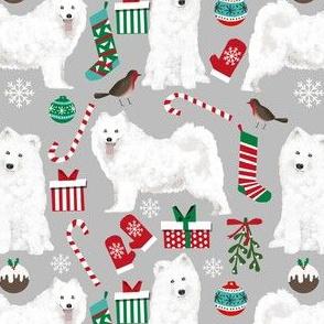 samoyed christmas dog fabric cute samoyeds holiday dog christmas design - grey