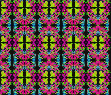 A Garden Trellis of Spring Flowers on Black fabric by rhondadesigns on Spoonflower - custom fabric