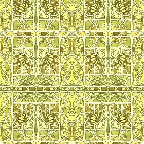 Lemony Lime Vine Design fabric by edsel2084 on Spoonflower - custom fabric