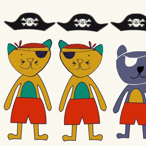 Cat and Bear pirates plush