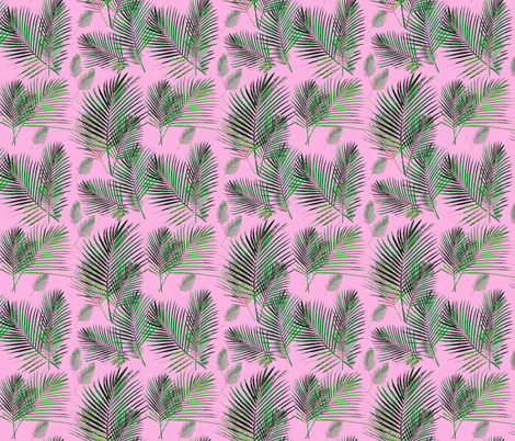 areca palms on pink palm frond  fabric by jenlats on Spoonflower - custom fabric
