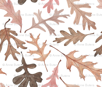 Watercolor Oak Leaves