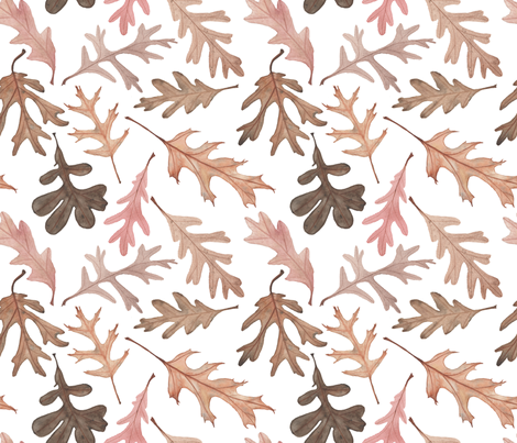 Watercolor Oak Leaves fabric by mygiantstrawberry on Spoonflower - custom fabric