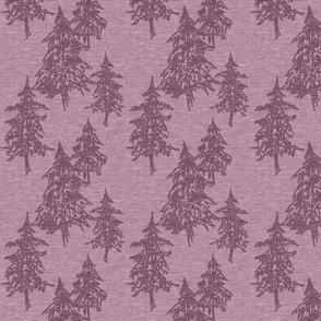 Evergreen Trees on Linen- plum