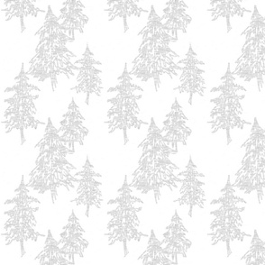 Evergreen TRees - silver on white