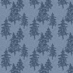 Evergreen TRees -  dark blue