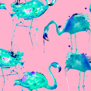 teal flamingos on pink