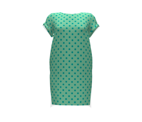 Turquoise polka dots on mint green