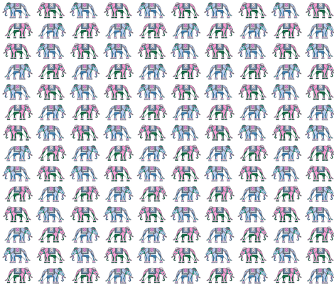 pink blue green elephants indian  fabric by jenlats on Spoonflower - custom fabric