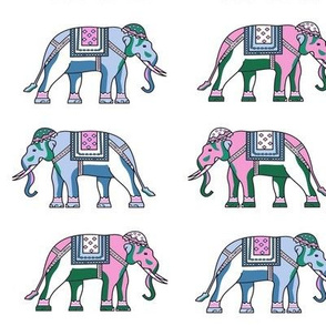 pink blue green elephants indian