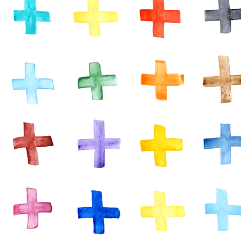 Rainbow Swiss Cross - larger scale fabric by emeryallardsmith on Spoonflower - custom fabric