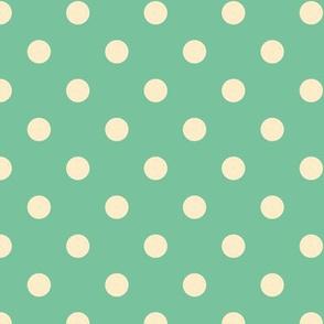 Vanilla cream polka dots on mint green