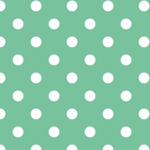 White polka dots on mint green