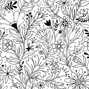 twisty floral coloring pattern