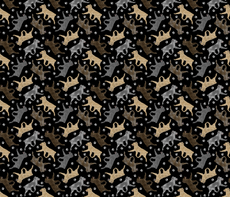 Trotting Pyrenean Shepherds smooth face and paw prints - tiny black fabric by rusticcorgi on Spoonflower - custom fabric