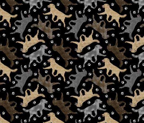 Trotting Pyrenean Shepherds smooth face and paw prints B - black fabric by rusticcorgi on Spoonflower - custom fabric