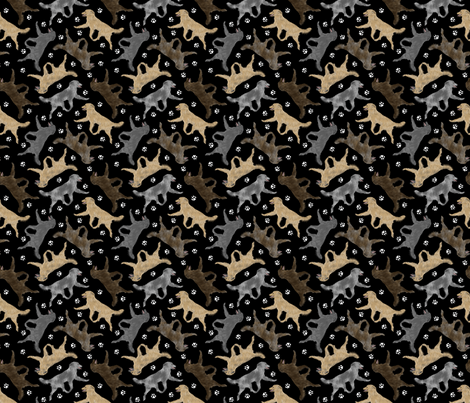 Trotting Pyrenean Shepherds smooth face and paw prints B - tiny black fabric by rusticcorgi on Spoonflower - custom fabric