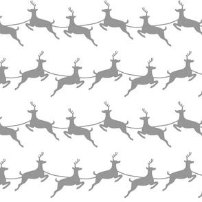 Flying Reindeer Gray on White
