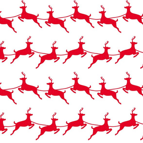 Flying Reindeer Red on White