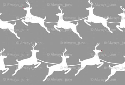 Flying Reindeer White on Gray