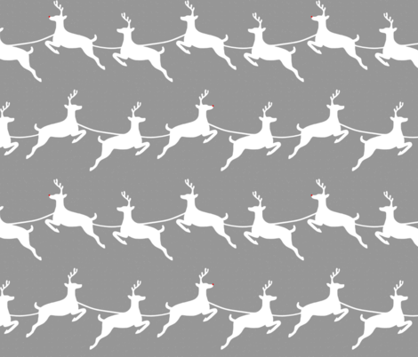 Flying Reindeer White on Gray  fabric by always_june on Spoonflower - custom fabric