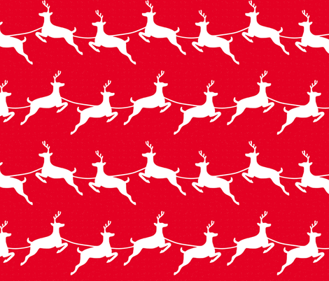 Flying Reindeer White on Red fabric by always_june on Spoonflower - custom fabric
