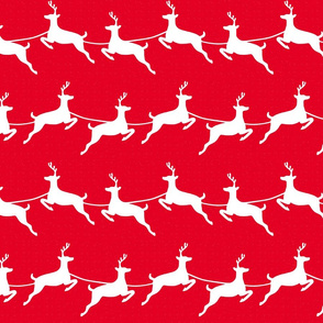 Flying Reindeer White on Red