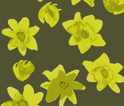 yellow flowers dark fabric by jeanne_sterner on Spoonflower - custom fabric