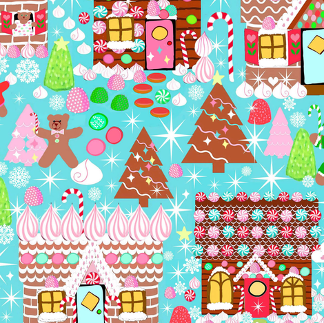 Holiday Gingerbread House // Christmas // Gingerbread house //  Xmas //  Holiday //  Gingerbread Man  //Cookies  // Winter //  Candy  fabric by magentarosedesigns on Spoonflower - custom fabric
