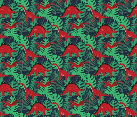 Prehistoric Dinosaur Pattern fabric by onelittleprintshop on Spoonflower - custom fabric
