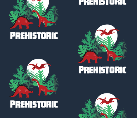 Prehistoric Dinosaurs Full Moon placement graphic fabric by onelittleprintshop on Spoonflower - custom fabric