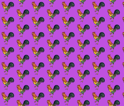 cockerel purple 2 fabric by heretherebemonsters on Spoonflower - custom fabric