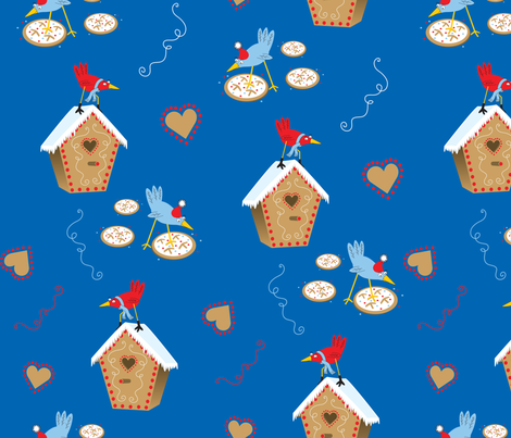 Tweet Gingerbread Houses fabric by marcy_horswill_design on Spoonflower - custom fabric