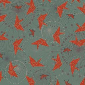 Vintage Origami Cranes - Red & Grey