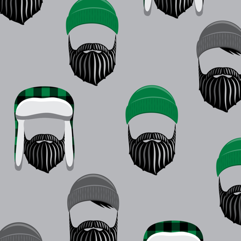 woodsman - lumberjack hat and beards - green on grey fabric by littlearrowdesign on Spoonflower - custom fabric