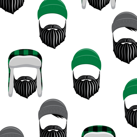 woodsman - lumberjack hat and beards - green fabric by littlearrowdesign on Spoonflower - custom fabric