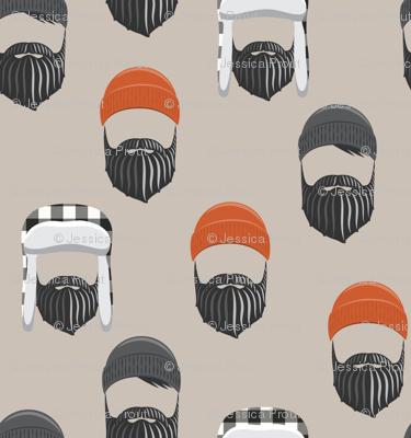 woodsman - lumberjack hat and beards - orange on beige