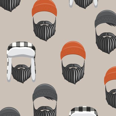 woodsman - lumberjack hat and beards - orange on beige fabric by littlearrowdesign on Spoonflower - custom fabric