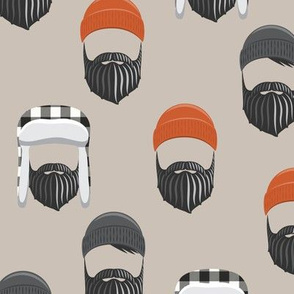 woodsman - lumberjack hat and beards - orange on beige