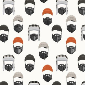 (small scale) woodsman - lumberjack hat and beards - orange on cream